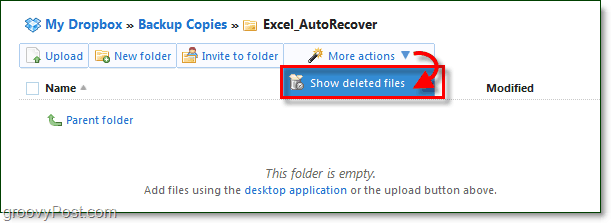 show deleted files in dropbox