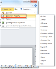 document properties available as autotext