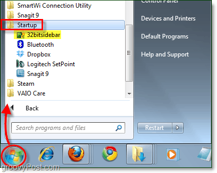 startup folder for 32bit sidebar windows 7