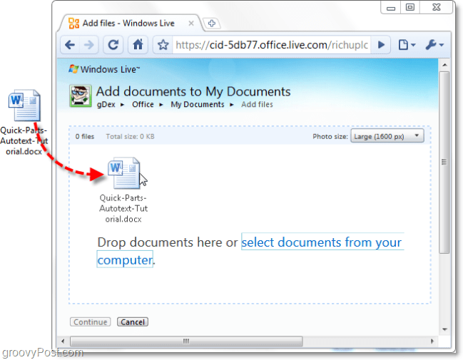 add documents to my documents from office live