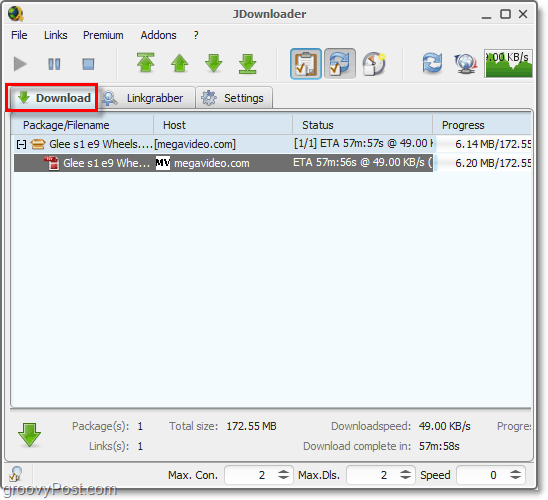 download jdownloader status