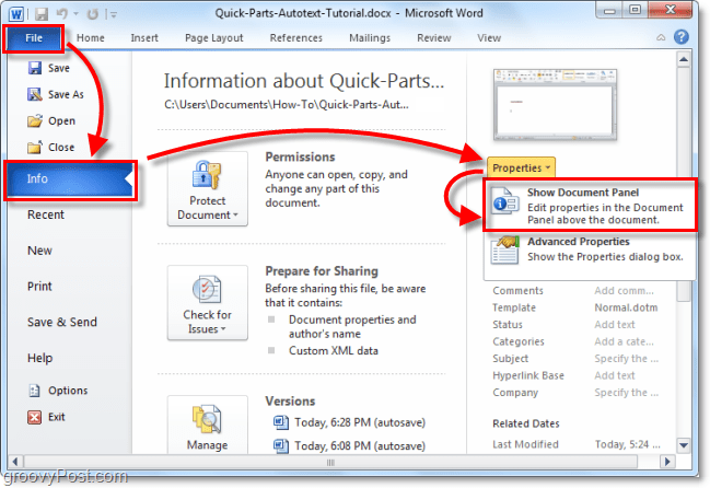 How To Guide For Using Autotext Quick Parts In Office 2010