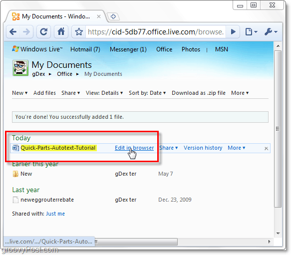 edit a skydrive document in browser