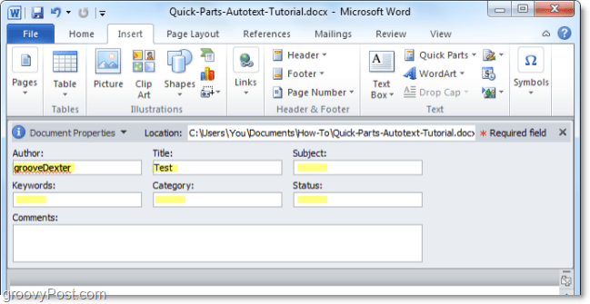 adjust document properties from the document panel in word 2010
