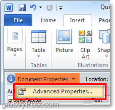 view advanced document properties in word 2010