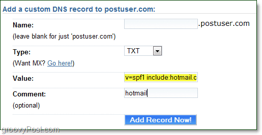 past the TXT value to your domain host
