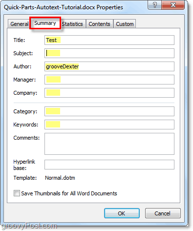 the summary tab allows you to edit advanced document properties in word 2010