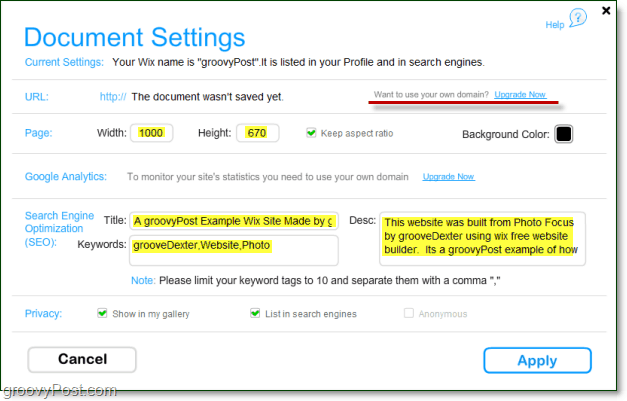 document settings in wix are fully adjustable