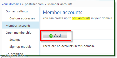 add member accoutns to your windows live domain email