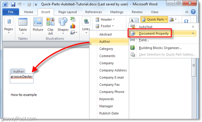 insert document properties and adjust them from within the word document