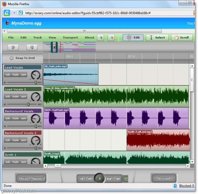 myna audio editor lets you splice audio and add special effects