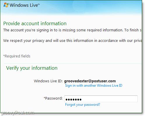change windows live domain password
