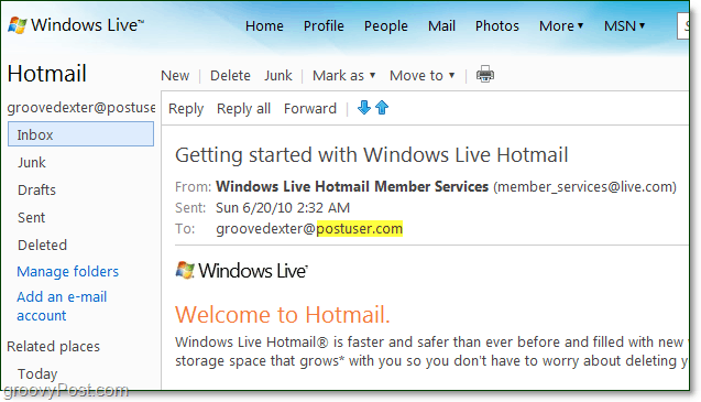 your email at your domain from windows live