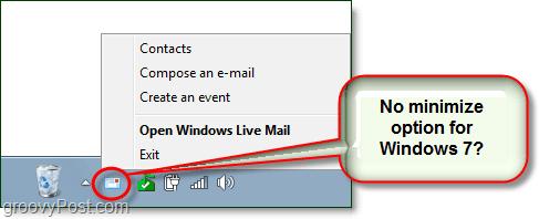 how to minimize live mail to the system tray in windows 7
