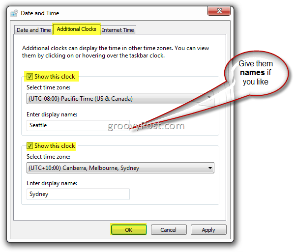 Microsoft Windows 7 add additional clock to Taskbar