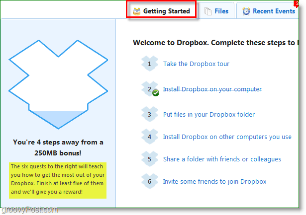 Dropbox screenshot - how to get 250mb extra fast
