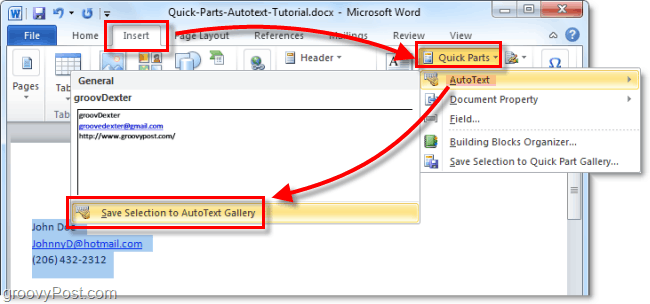 create a new autotext entry