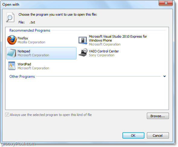 the open with menu in windows 7