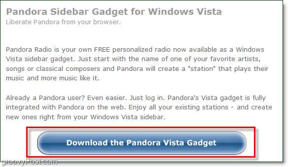 download pandora gadget windows 7