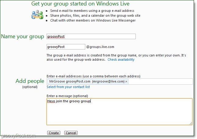 create a windows live group