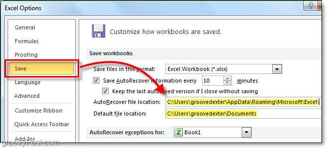 save locations in office 2010 for autorecover and default save