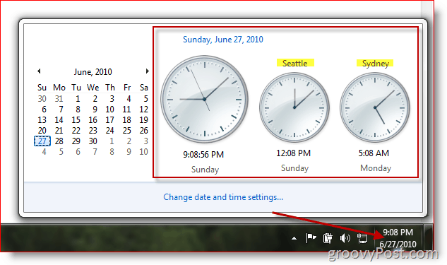 Microsoft Windows 7 displaying additional clocks in different timezones