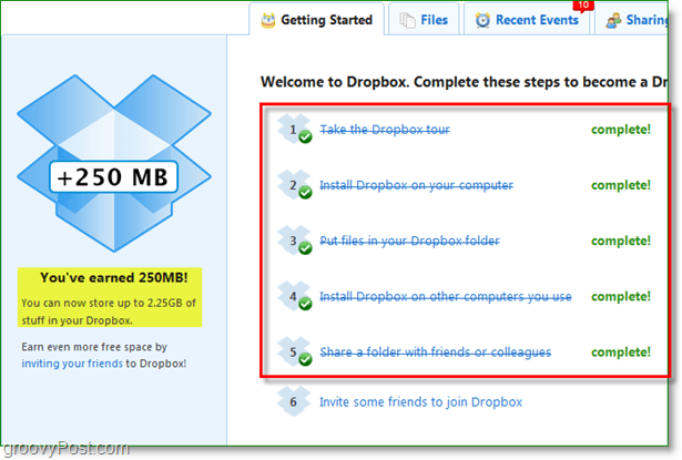 Dropbox screenshot - 250mb space quickly rewarded
