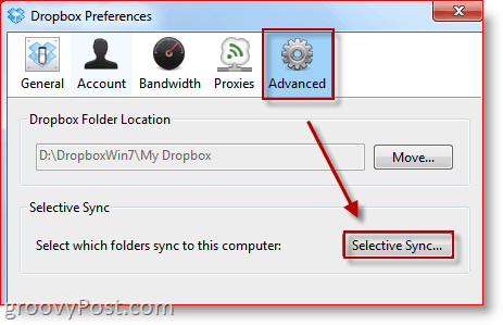 Press DropBox Advanced Preferences Selective Sync Button