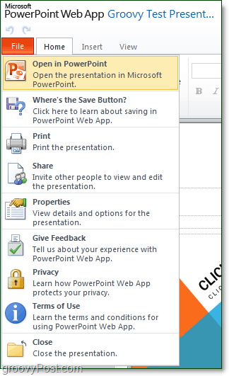 file menu in office online