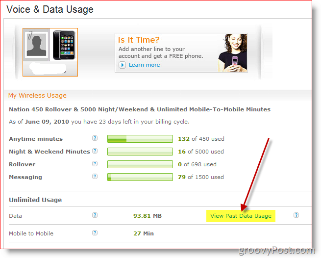 AT&T Wireless View Past Data Usage Report