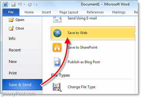 save and send office to the web via skydrive