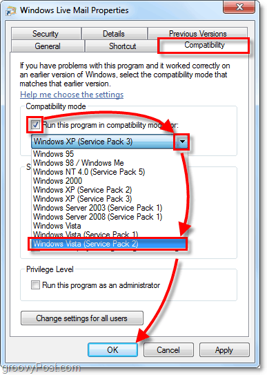 windows live mail vista compatibility mode