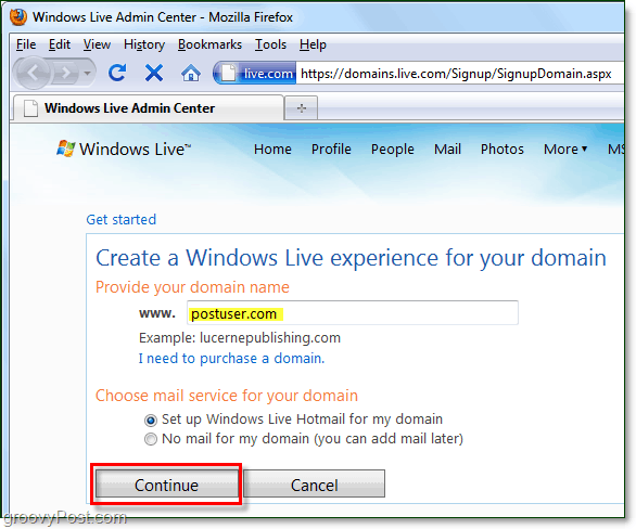 provide your domain name to windows live