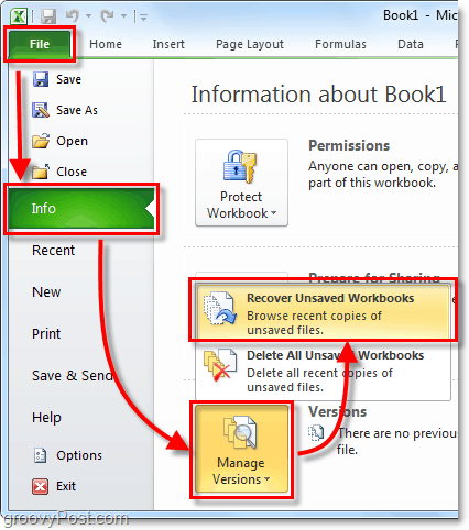 find the unsaved folder in office 2010