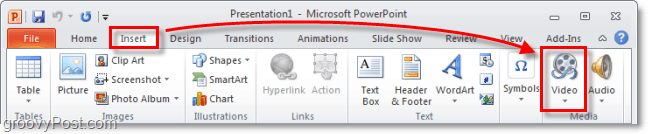 insert a video into PowerPoint 2010