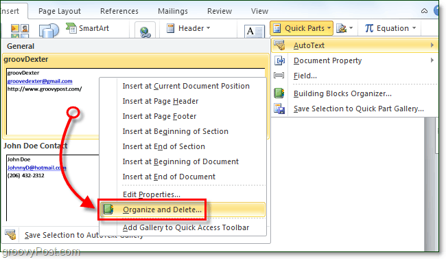 how to delete autotext entries in office 2010