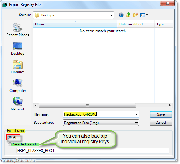 save the registry backup in windows 7 and vista