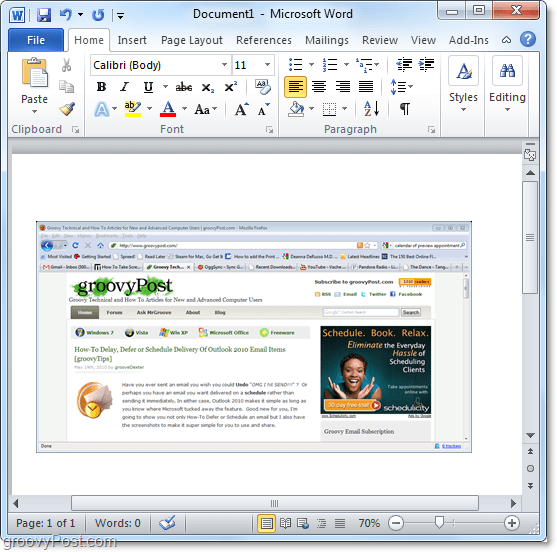 using an available window for a screenshot in office 2010