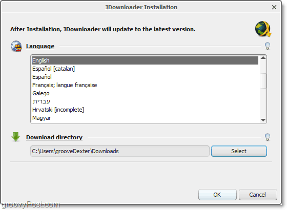 jdownloader language selection