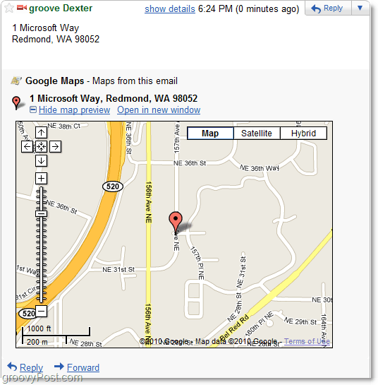 google maps in gmail
