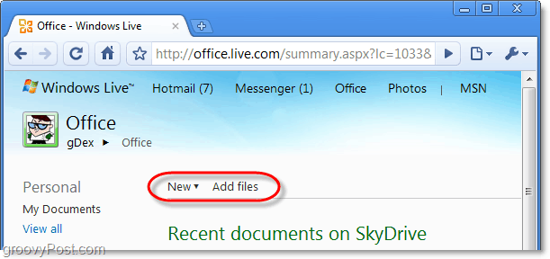 create a new word web app or add new files