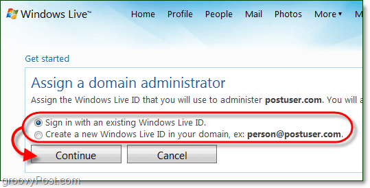 create a windows live domain administrator account or use a current live account