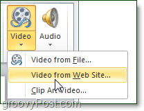 Video from web site option in PowerPoint 2010