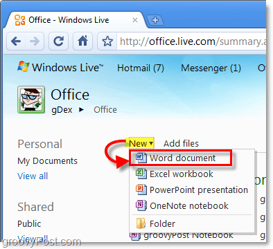 create a new word doc online in office live