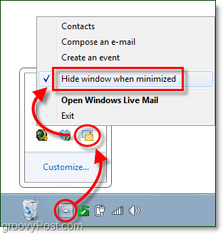 hide window when minimized for live mail