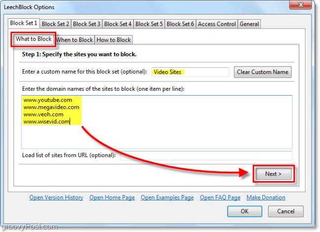 configuring what leechblock blocks