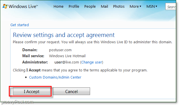 review and accept the windows live domain email terms agreement