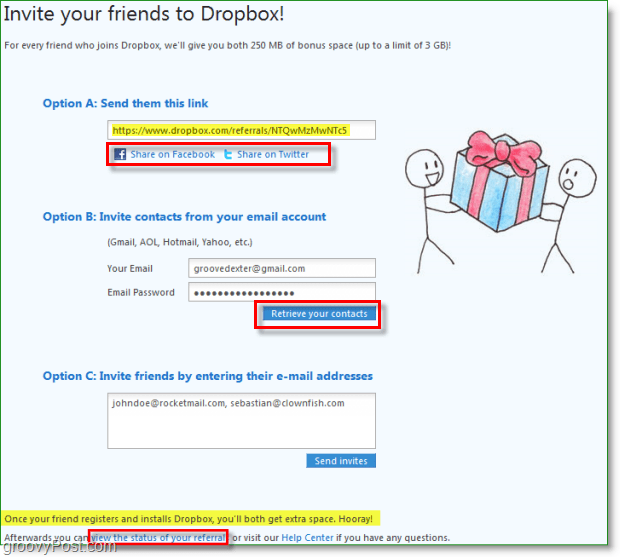 Dropbox screenshot -many ways to share your invites to dropbox