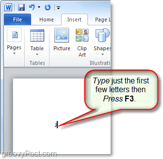 use the f3 key to insert autotext in word or outlook