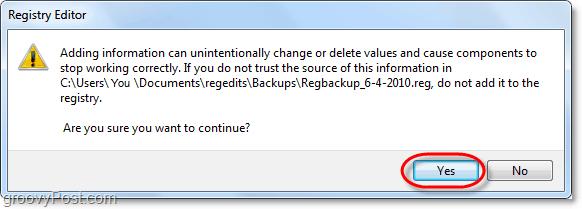 confirm registry restore windows 7 and vista